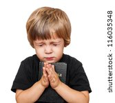 little boy praying with the... | Shutterstock . vector #116035348