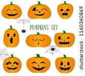 set of halloween pumpkins ...   Shutterstock .eps vector #1160360869