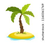 tropical palm on island with... | Shutterstock .eps vector #1160361769