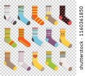flat design colorful socks set...   Shutterstock .eps vector #1160361850