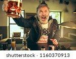 senior bearded man drinking...   Shutterstock . vector #1160370913