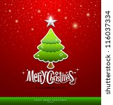 merry christmas lettering green ... | Shutterstock .eps vector #116037334