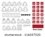 winter clothes and clothes icon. | Shutterstock .eps vector #116037520