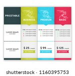 price table for websites and... | Shutterstock .eps vector #1160395753