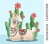 illustration with llama and... | Shutterstock .eps vector #1160412466