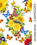 seamless floral pattern. blue... | Shutterstock . vector #1160423203