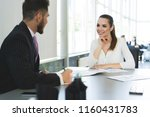 businesspeople meeting and... | Shutterstock . vector #1160431783