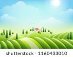 morning rural landscape with... | Shutterstock .eps vector #1160433010