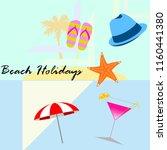 beach umbrella hat flip flops... | Shutterstock .eps vector #1160441380