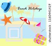 beach umbrella hat flip flops... | Shutterstock .eps vector #1160441419