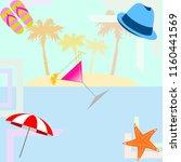 beach umbrella hat flip flops...   Shutterstock .eps vector #1160441569