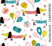 birthday seamless pattern with... | Shutterstock .eps vector #1160448940