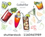 alcoholic cocktails hand drawn... | Shutterstock .eps vector #1160465989