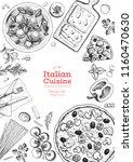 italian cuisine top view frame. ... | Shutterstock .eps vector #1160470630