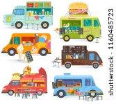 food truck vector street food... | Shutterstock .eps vector #1160485723