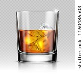 glass of whiskey with ice... | Shutterstock .eps vector #1160486503
