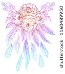 colorful bouquet of roses and... | Shutterstock .eps vector #1160489950