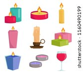 set colorful candles isolated... | Shutterstock .eps vector #1160490199
