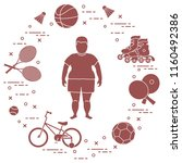 fat boy  badminton rackets and... | Shutterstock .eps vector #1160492386