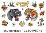 black panther head and tiger... | Shutterstock .eps vector #1160495746
