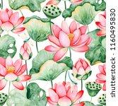 lotus watercolor texture... | Shutterstock . vector #1160495830