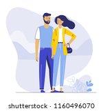 happy romantic couple. pair... | Shutterstock .eps vector #1160496070