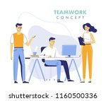 teamwork concept with young men ... | Shutterstock .eps vector #1160500336