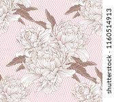 hand drawn linen peony flower ... | Shutterstock .eps vector #1160514913