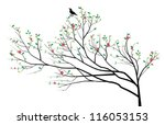 chinese tree with a bird on it