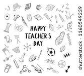 happy teacher's day greeting on ... | Shutterstock .eps vector #1160549239