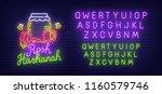 rosh hashanah neon sign  bright ...   Shutterstock .eps vector #1160579746