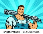 plumber worker with adjustable... | Shutterstock .eps vector #1160584006