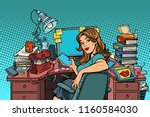 businesswoman in the workplace. ... | Shutterstock .eps vector #1160584030