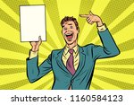 businessman points at copy... | Shutterstock .eps vector #1160584123