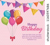 happy birthday card with... | Shutterstock .eps vector #1160597686