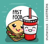 delicious sandwich with soda... | Shutterstock .eps vector #1160598346