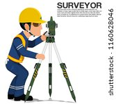 a surveyor is operating the... | Shutterstock .eps vector #1160628046