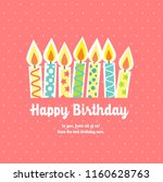 happy birthday card with candle ... | Shutterstock .eps vector #1160628763