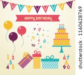 vector illustration birthday... | Shutterstock .eps vector #1160628769