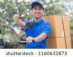 delivery man send order parcel... | Shutterstock . vector #1160632873
