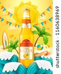 orange cocktail ads with light... | Shutterstock .eps vector #1160638969