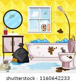very dirty bathroom scene... | Shutterstock .eps vector #1160642233