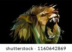 angry lion low poly... | Shutterstock .eps vector #1160642869