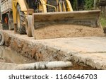 big loader of tractor with sand ... | Shutterstock . vector #1160646703