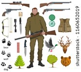 hunter with shotgun in his hand ... | Shutterstock .eps vector #1160652019