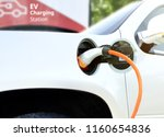electric car  ev  at charging... | Shutterstock . vector #1160654836