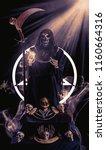 view of grim reaper show tarot... | Shutterstock . vector #1160664316