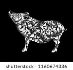 the contour of pig  chinese... | Shutterstock .eps vector #1160674336