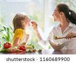 healthy food at home. happy... | Shutterstock . vector #1160689900