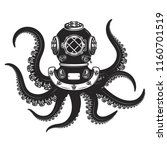 diver helmet with octopus... | Shutterstock .eps vector #1160701519
